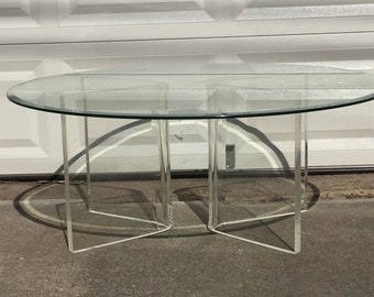 Vintage Glass And Lucite Round Coffee Table   Base Only