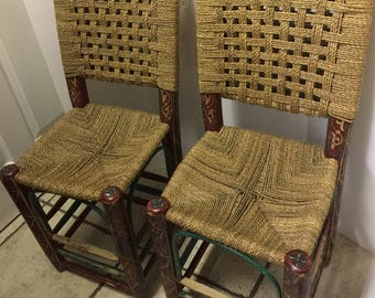 Pair of vintage hand painted rush wooden chairs
