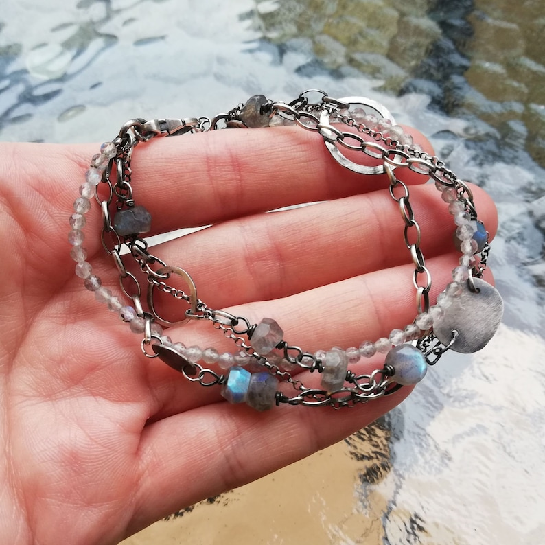 Labradorite silver layered bracelet elegant boho style stylish jewelry gift for women blue labradorite
