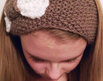 Women's Knit Light Brown Earwarmer with Bow