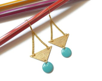 Turquoise sequins and gold earrings
