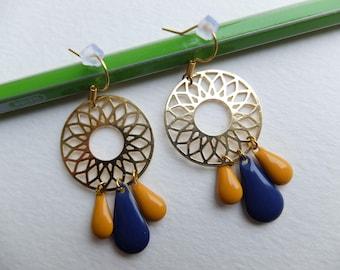Earrings gold, mustard and dark blue