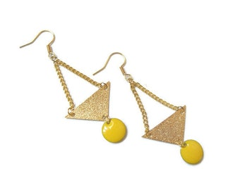 Lemon yellow sequins and gold earrings