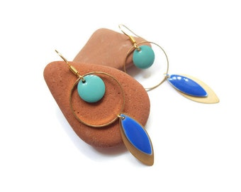 Blue and gold sequins and gold tone earrings