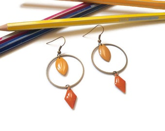 Earrings mustard yellow brass and rust Orange