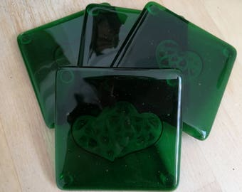 Fused Green Glass Heart Coasters - Set of Four