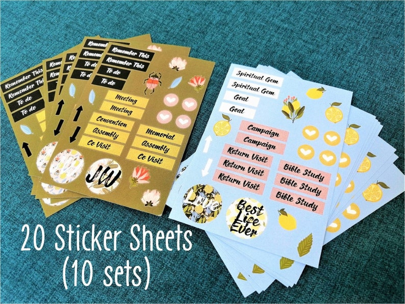 Bundle 10 set JW Planner Stickers 20 sheets Jehovah's Witnesses Diary  Bullet Journal Ministry Meeting
