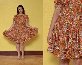 b9e4a11f3e 70s Polka Dot Party Dress Halloween Ruffle Dolly Dress Puff Sleeve Full  Skirt Cotton Day Dress Print Dress Colorful Rainbow Mini Dress
