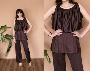 bdc9531d2d5 70s Satin Pantsuit 2 Piece Set Flutter Top Wide Leg Pants Bell Bottoms  Disco Jumpsuit Brown High Waist Pants Hippie Boho Silky Set