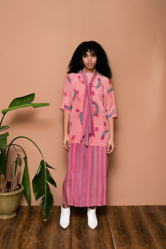 80s Pink Silk Hand Painted Separate Set // Abstra… - image 7