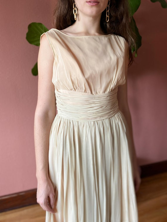 Vintage 1950's Cream Chiffon Dress // Party Dress… - image 1