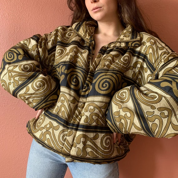 80s 90s Abstract Printed Silk Bomber Jacket UNISE… - image 1