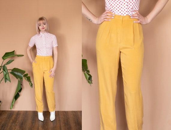 90s Yellow Silk Trousers High Waist Pants Pastel M