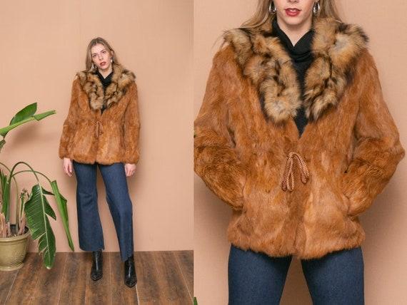50s 60s Red Fox Fur Coat Fur collar Drawstring Coa