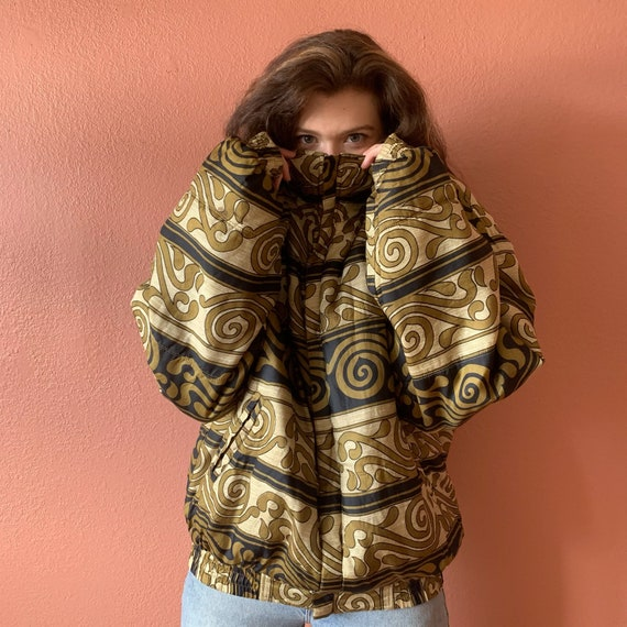 80s 90s Abstract Printed Silk Bomber Jacket UNISE… - image 9