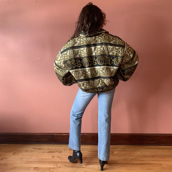 80s 90s Abstract Printed Silk Bomber Jacket UNISE… - image 8