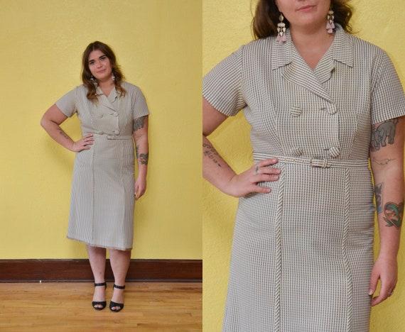 60s Tan Seersucker Wiggle Dress Tan Plus Size Dress Day Dress Etsy