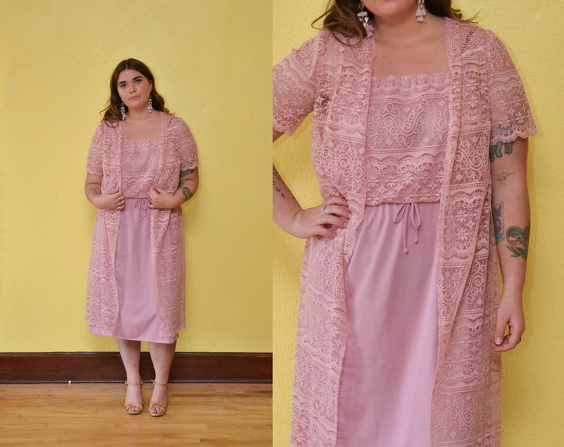 70s Pink Lace Midi Dress Pastel Spring Dress Bridal Dress High Waisted Hippie Boho Lace Duster Coat Cover Tank Dress Set