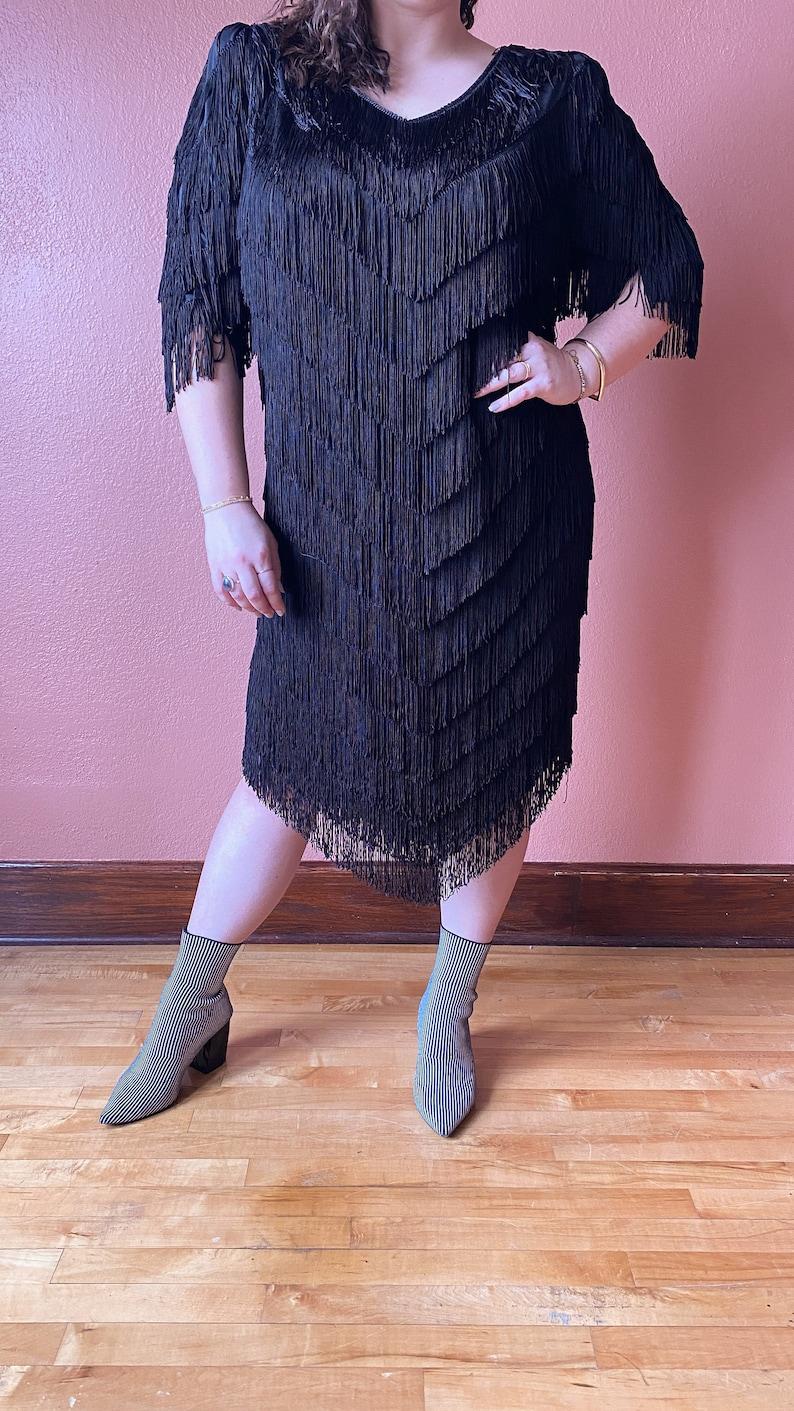 Vintage Plus Size Full Fringe Dress  Flapper Dress Size 1X 2X