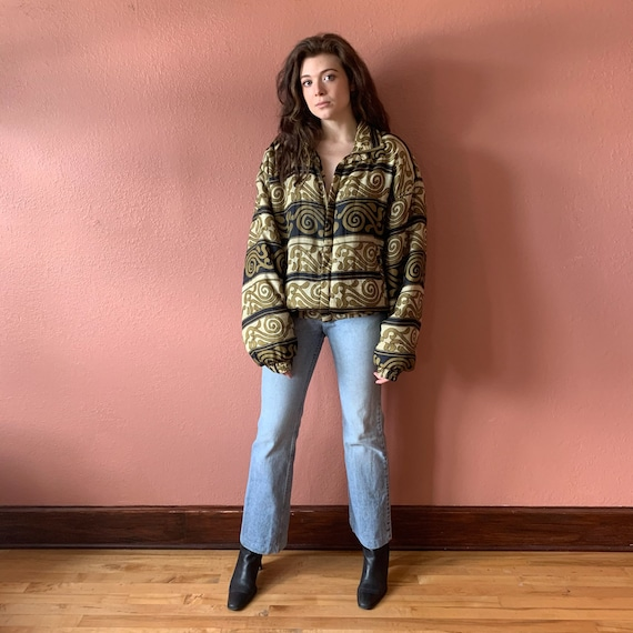 80s 90s Abstract Printed Silk Bomber Jacket UNISE… - image 2