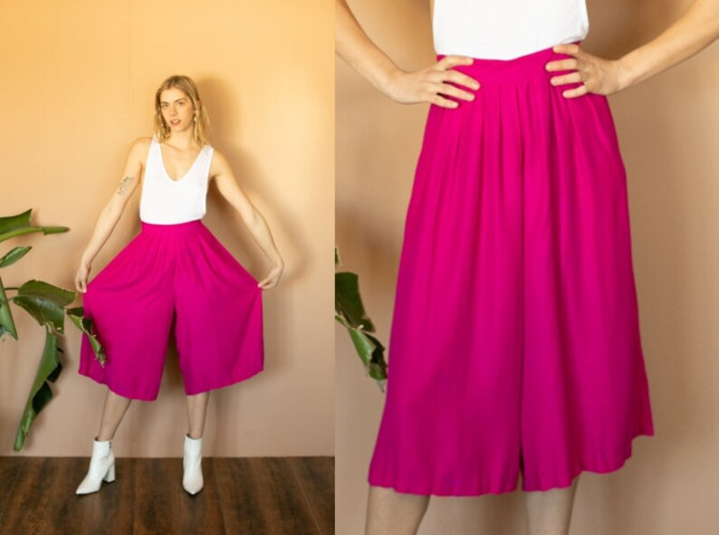 77e75e6dc1f 90s Pink Palazzo Pants High Waist Capri Pants Crop Pants Silky