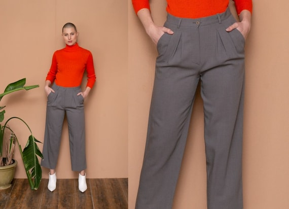 80s Armani High Waist Pants Gray Structured Pants