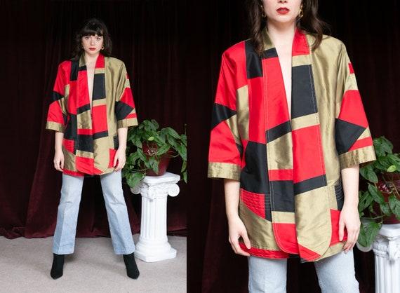 80s Silk Kimono Cape jacket Red Black & Metallic G