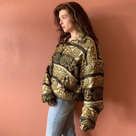 80s 90s Abstract Printed Silk Bomber Jacket UNISE… - image 6