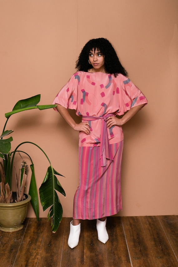 80s Pink Silk Hand Painted Separate Set // Abstra… - image 6
