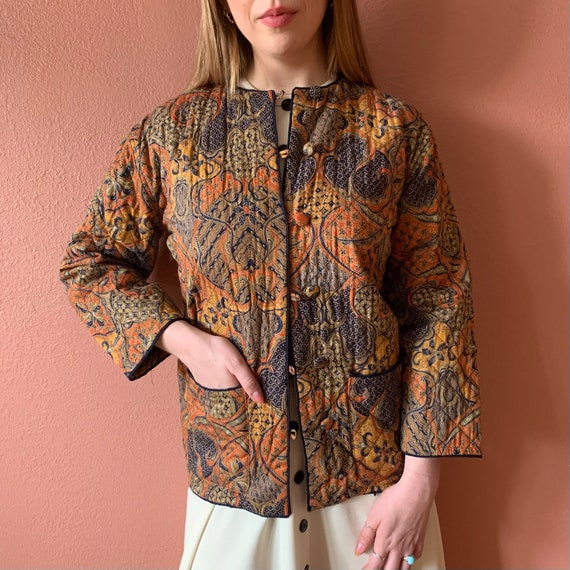 90s Quilted Jacket Floral Printed Transitional Jac