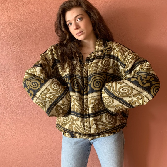 80s 90s Abstract Printed Silk Bomber Jacket UNISE… - image 3