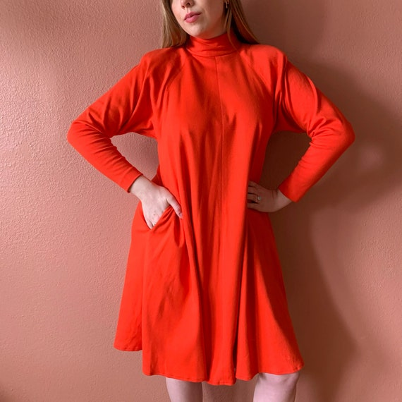 Red Turtleneck Sweater Dress with Snakeskin and Suede Details 1980s