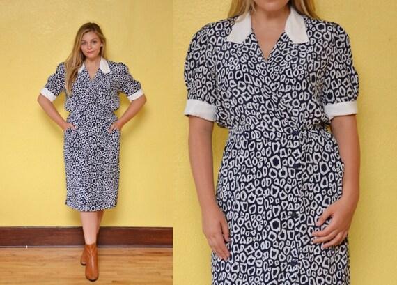 80s Cheetah Animal Print Secretary Dress Blue White Collared Dress Preppy  Work Dress Plus Size Dress Wrap Dress Silky Midi Dress