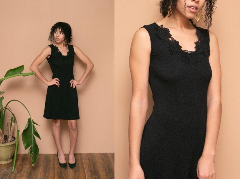 S black lace applique mini dress knit sweater dress v neck etsy