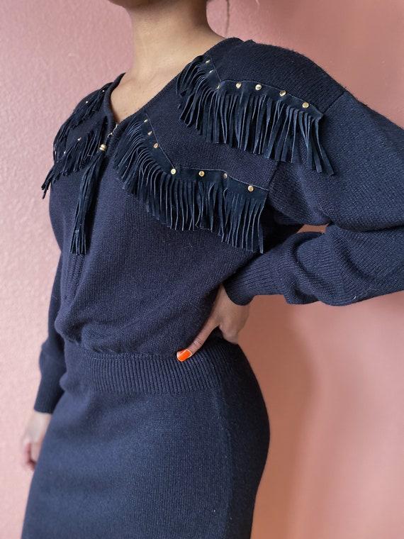 black suede fringe sweater dress - m l