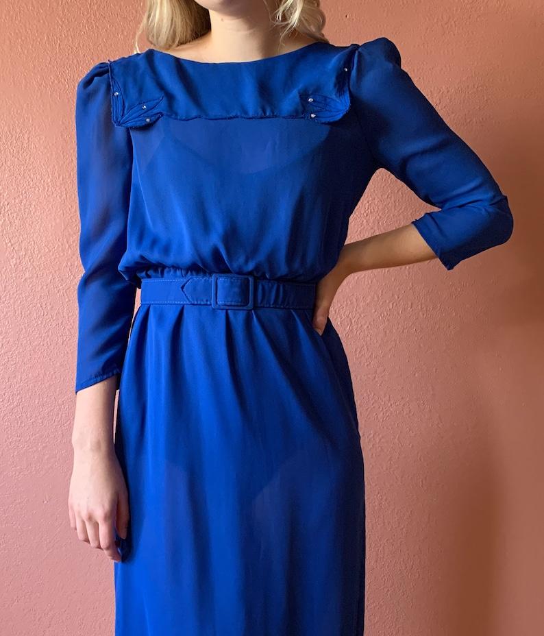 70s Blue Dress Rhinestone Embellished Floral Applique  Sailor Collar Dress Puff Sleeve 34 Sleeve Sheer Belted Knee Length Dress