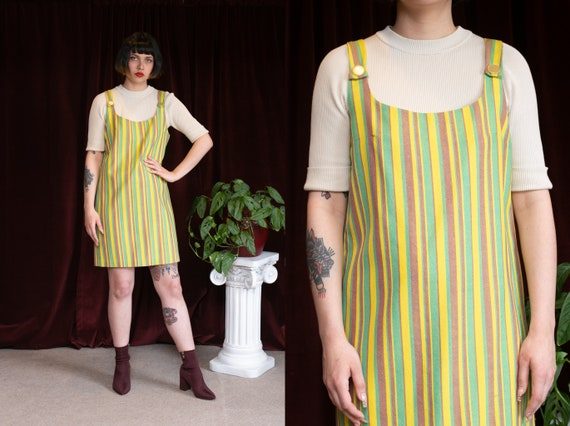 60s Neon Striped Jumper Dress Overall Suspender Dr