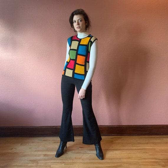 60s Mod Sweater Vest Crochet Colorblock Knit Colo… - image 2
