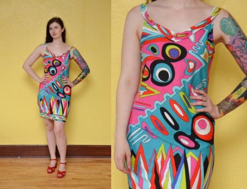 0ed7e354be9d 80s 90s Psychedelic Mini Dress Neon Colorblock Dress Geometric