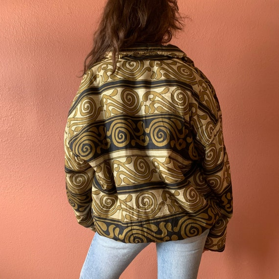 80s 90s Abstract Printed Silk Bomber Jacket UNISE… - image 7