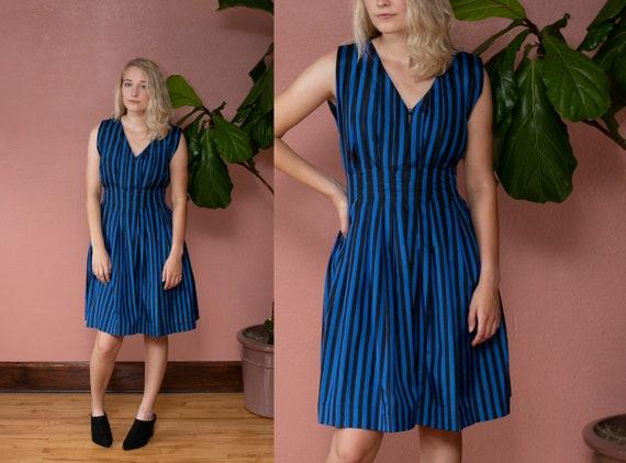 70s 80s Blue & Black Striped Silk Dress Pintucked