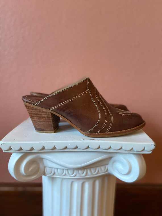 leather wooden clogs heels boho - size 7.5
