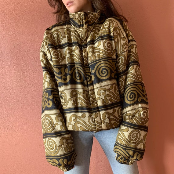80s 90s Abstract Printed Silk Bomber Jacket UNISE… - image 10