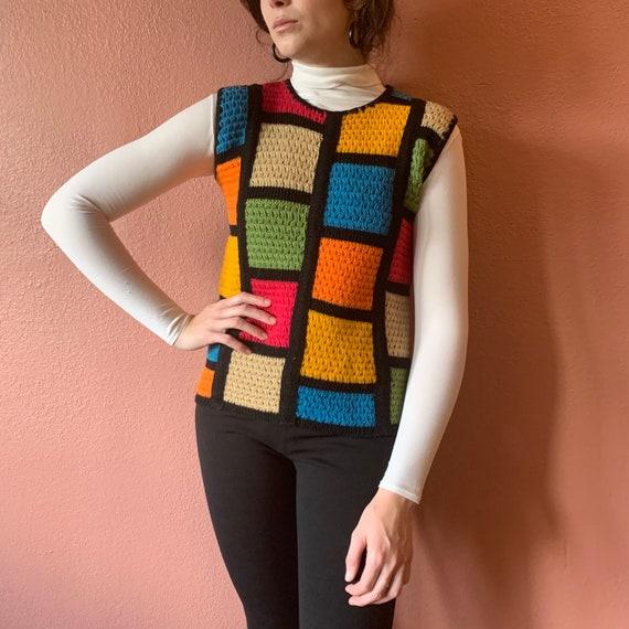 60s Mod Sweater Vest Crochet Colorblock Knit Colo… - image 8