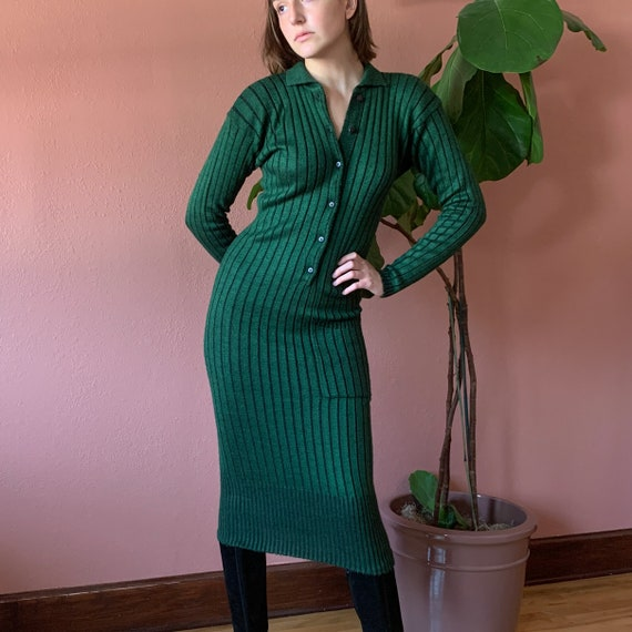 70s Forest Green Knit Sweater Dress Ribbed Minimal