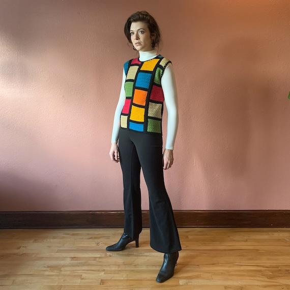 60s Mod Sweater Vest Crochet Colorblock Knit Colo… - image 4