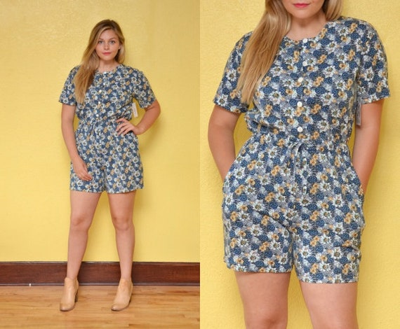 36bf28f7bc7f 90s Daisy Romper Playsuit Flower Onesie Button Up Boho Printed