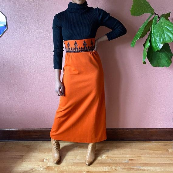 Orange Black Hippie Maxi Dress // Empire Waist 70s