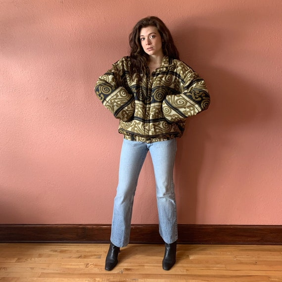 80s 90s Abstract Printed Silk Bomber Jacket UNISE… - image 4