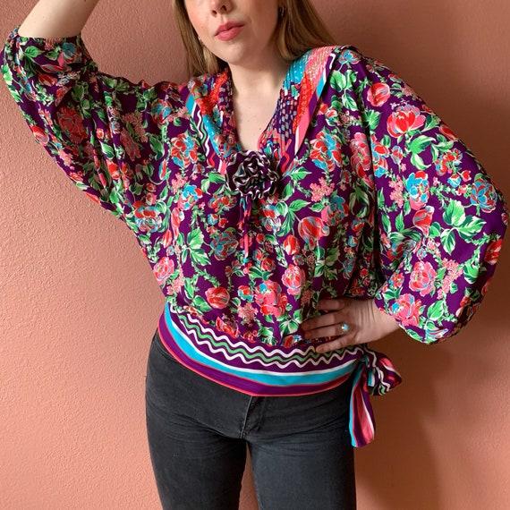 90s Diane Freis Colorful Collar Top Dolman Sleeve